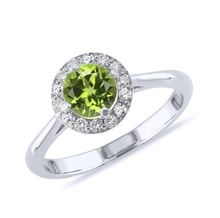 Gold ring with peridot and diamonds - Engagement Halo Rings