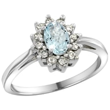 AQUAMARINE RING WITH DIAMONDS IN WHITE GOLD - HALO ENGAGEMENT RINGS - ENGAGEMENT RINGS WITH GEMSTONES
