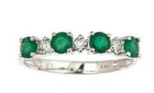 EMERALD RING WITH DIAMONDS, GOLD - EMERALD RINGS - RINGS