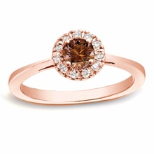 ENGAGEMENT DIAMOND RING, ROSE GOLD - HALO ENGAGEMENT RINGS - ENGAGEMENT RINGS WITH GEMSTONES