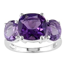 SILVER RING WITH AMETHYST AND ROSA DE FRANCE - AMETHYST RINGS - RINGS