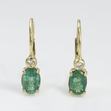 GOLD EARRINGS WITH EMERALDS AND DIAMONDS - GOLD EARRINGS - EARRINGS