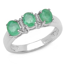 EMERALD RING, SILVER - EMERALD RINGS - RINGS