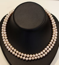 DOUBLE-ROW NECKLACE MADE OF PINK PEARLS - PEARL NECKLACE - PEARLS