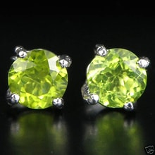 SILVER EARRINGS WITH PERIDOT - PERIDOT EARRINGS - EARRINGS