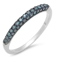 SILVER WEDDING RING WITH BLUE DIAMONDS - JEWELLERY BY GEMSTONE