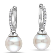 PEARL EARRINGS MADE OF SILVER AND DIAMONDS - PEARL EARRINGS - PEARLS