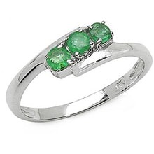 SILVER RING WITH EMERALDS - EMERALD RINGS - RINGS