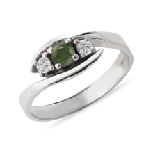 Moldavite and CZ ring in 14kt gold - Engagement Gemstone Rings
