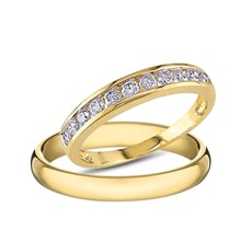 Diamond wedding rings, 14K gold - Diamond wedding rings