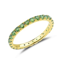 Ring with emeralds, 14K yellow gold - Emerald rings