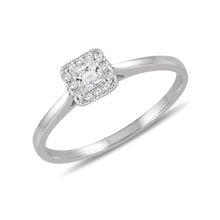 Diamond HALO engagement ring in white gold - White Gold Rings