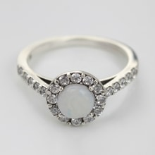 SILVER RING WITH OPAL AND CZ STONES - OPAL RINGS - RINGS