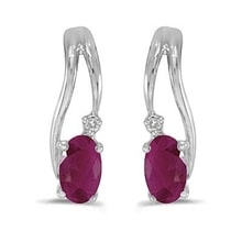 EARRINGS MADE OF WHITE GOLD, RUBY ​​AND DIAMOND - WHITE GOLD EARRINGS - EARRINGS