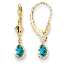 GOLD EARRINGS WITH BLUE TOPAZ - TOPAZ EARRINGS - EARRINGS