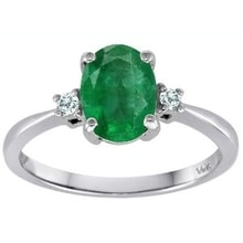 RING WITH EMERALDS AND DIAMONDS, 14K WHITE GOLD - EMERALD RINGS - RINGS