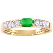 Gold ring with emerald and diamonds - Emerald rings