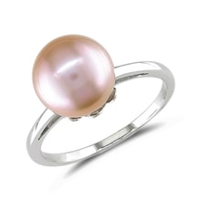 Ring made of white gold with pink pearl - Pearl rings