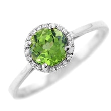 GOLDEN RING WITH PERIDOT - HALO ENGAGEMENT RINGS - ENGAGEMENT RINGS WITH GEMSTONES