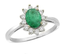 EMERALD RING WITH ZIRCONES IN WHITE GOLD - HALO ENGAGEMENT RINGS - ENGAGEMENT RINGS WITH GEMSTONES