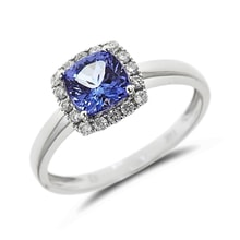 Tanzanite and diamond ring in 14kt gold - Engagement Halo Rings
