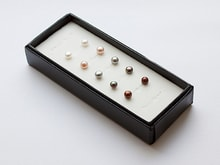 A SET OF FIVE PAIRS OF PEARL PELLET FROM FRESHWATER PEARLS - PEARL EARRINGS - PEARLS