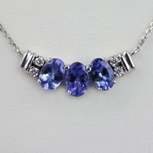 Gold necklace with tanzanite and diamonds - Jewellery Sale