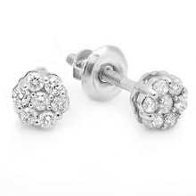 DIAMOND EARRINGS FLOWERS IN WHITE GOLD - DIAMOND EARRINGS - EARRINGS