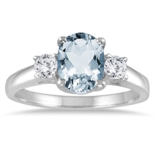 RING OF WHITE GOLD WITH AQUAMARINE AND DIAMONDS - ENGAGEMENT RINGS WITH GEMSTONES