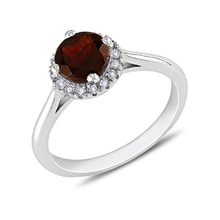 STERLING SILVER RING WITH GARNET AND DIAMONDS - HALO ENGAGEMENT RINGS - ENGAGEMENT RINGS