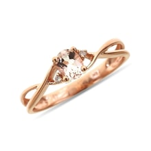 Morganite and diamond ring in 14kt rose gold - Engagement Gemstone Rings