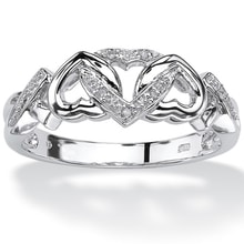 Diamond hearts ring  in silver - Sterling Silver Rings