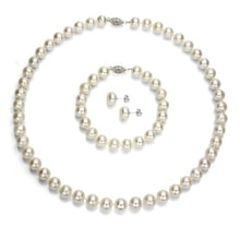 PEARL SET NECKLACE, BRACELET AND EARRINGS - PEARL SETS - PEARLS
