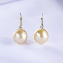 GOLD EARRINGS WITH PEARL OF THE SOUTH PACIFIC AND DIAMOND - PEARL EARRINGS - EARRINGS