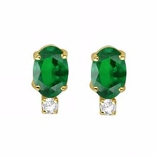 GOLD EARRINGS WITH EMERALD AND DIAMOND - EMERALD EARRINGS - EARRINGS