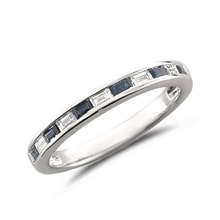 Wedding ring with diamonds and sapphires - Sapphire rings