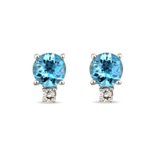 Gold earrings with diamonds and blue topaz - Topaz earrings