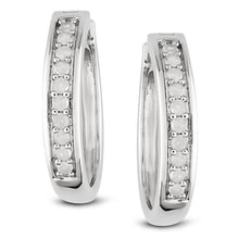 DIAMOND SILVER EARRINGS, 0.33 CT - DIAMOND EARRINGS - EARRINGS