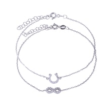 SET OF TWO SILVER BRACELETS - A HORSESHOE SYMBOL OF INFINITY - JEWELLERY SALE
