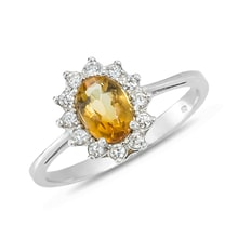 STERLING SILVER RING WITH CITRINE AND CZ - CITRINE RINGS - RINGS