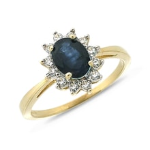 SAPPHIRE RING WITH DIAMONDS IN YELLOW GOLD - GOLD RINGS - RINGS