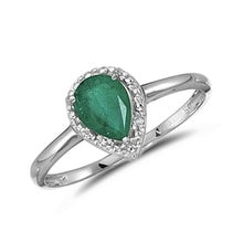 Golden ring with emeralds and diamonds - Emerald rings