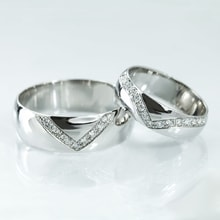 WEDDING RING WITH DIAMONDS 0.22CT IN WHITE GOLD - DIAMOND WEDDING RINGS - WEDDING RINGS