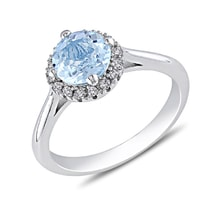 STERLING SILVER RING WITH TOPAZ AND DIAMONDS - HALO ENGAGEMENT RINGS - ENGAGEMENT RINGS