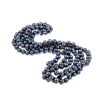 Long necklace of black pearls - Pearl necklace