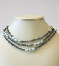 LABRADORITE NECKLACE WITH BLUE PEARLS - JEWELLERY SALE