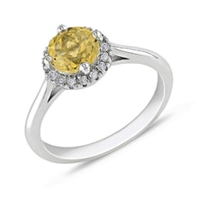 CITRINE RING WITH DIAMONDS, 14K GOLD - WHITE GOLD JEWELLERY - JEWELLERY BY KLENOTA