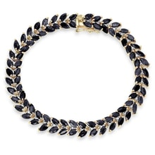 GOLD PLATED BRACELET SAPPHIRE AND DIAMOND - SILVER BRACELETS - JEWELLERY BY GEMSTONE