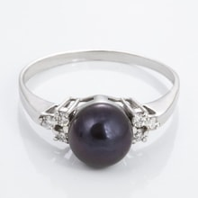 Black pearl diamond ring - Pearl Rings