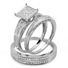 DIAMOND ENGAGEMENT SET IN SILVER - STERLING SILVER RINGS - RINGS
